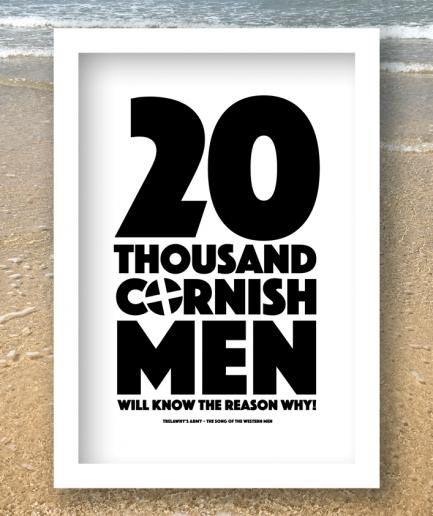 20 thousand cornishmen b&w print white frame