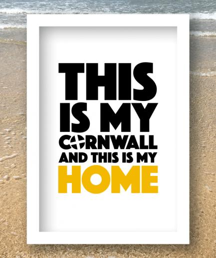 cornwall my home white frame print