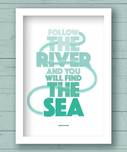 follow the river white frame poster