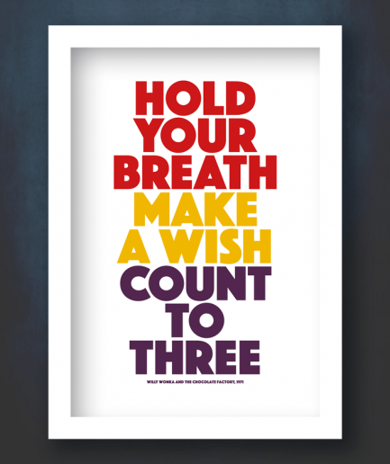 hold your breath make a wish poster white frame