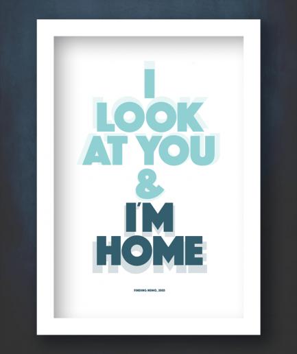 nemo i'm home white frame print