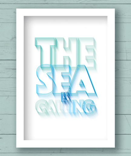 the sea is calling white frame poster