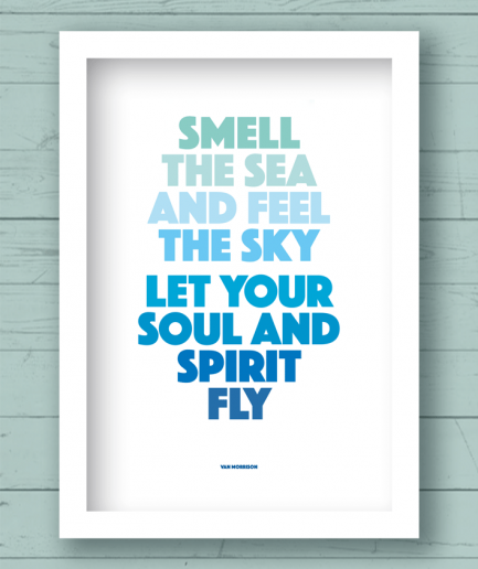 smell the sea and feel the sky white fram poster