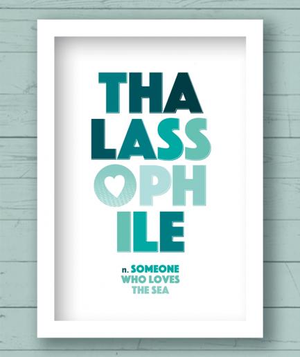 Thalassophile white frame poster