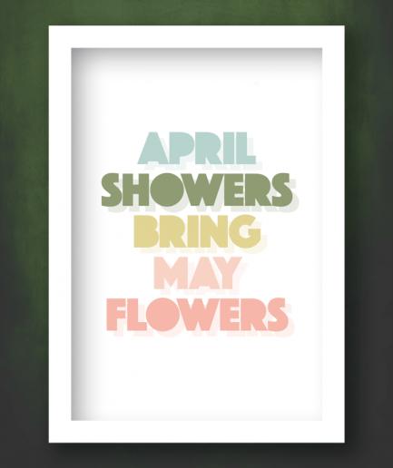 April Showers white framed print