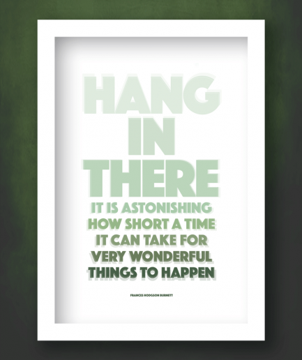 hang in there white frame print
