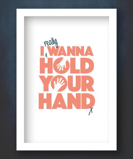 i wanna hold your hand white framed print